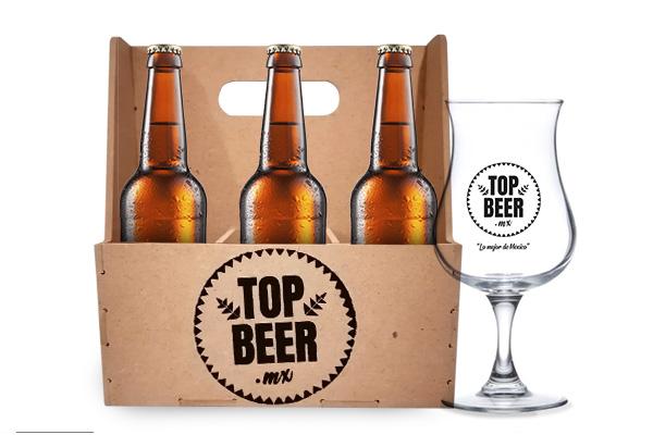 Regalo día del padre. Pack de cervezas con caja y copa cervecera